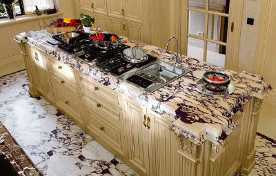 Interior furniture - kitchen and marble floor